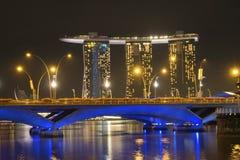 新加坡晚上 库存图片