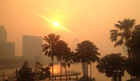 新加坡朦胧的天 库存照片