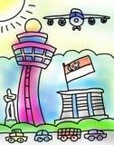 新加坡机场抽彩售货小游艇船坞海湾沙子图画 免版税图库摄影