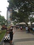新加坡格兰披治观看区域的2015 9月18日2015观众 库存照片