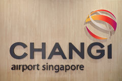 新加坡樟宜机场标志 库存图片