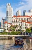 新加坡河和Swissotel商人法院旅馆 库存图片
