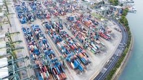 新加坡港的空中射击  免版税库存照片