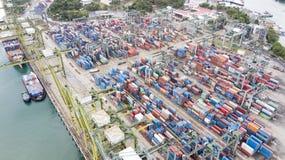 新加坡港的鸟瞰图  库存图片