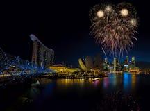 新加坡烟花 免版税库存照片