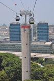 从新加坡的缆车到圣淘沙海岛 库存照片