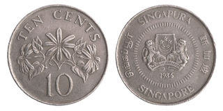 新加坡硬币十分 库存照片