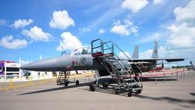 新加坡空军(RSAF)在显示的F-15SG共和国在新加坡Airshow 2012年 图库摄影