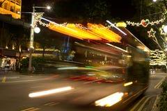 新加坡街道有圣诞灯和装饰的 免版税图库摄影