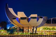 新加坡都市风景在晚上在新加坡 免版税库存图片