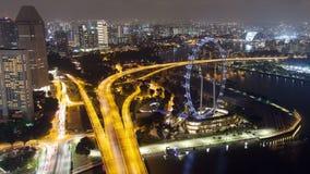 新加坡都市风景夜街道交通定期流逝 平底锅 影视素材