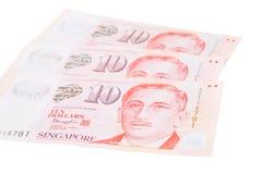 新加坡钞票美元在白色backgroun隔绝的10 SGD 库存照片