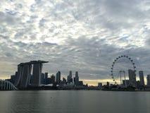 新加坡飞行物小游艇船坞海湾铺沙地平线 图库摄影