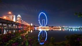 新加坡飞行物Timelapse在晚上 股票视频