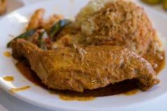 新加坡食物鸡咖喱饭 免版税库存照片