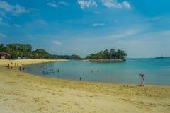 新加坡,新加坡- 2018年2月01日:享用黄沙和游泳在热带海滩的未认出的人民  免版税库存照片