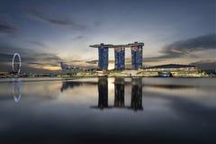 新加坡,新加坡- 2017年11月23日:小游艇船坞海湾沙子早晨,小游艇船坞海湾,新加坡 免版税库存图片