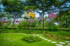 新加坡,新加坡- 2018年2月01日:幻想庭院华美的玻璃花美好的室外看法的 库存图片