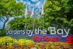 新加坡,新加坡- 2018年1月30日:情报签到入口天视图到滨海湾公园在新加坡 免版税图库摄影