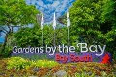 新加坡,新加坡- 2018年1月30日:情报签到入口天视图到滨海湾公园在新加坡 免版税库存照片