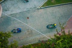 新加坡,新加坡- 2018年1月30日:新加坡圣淘沙Skyride无舵雪橇,新加坡顶视图  免版税库存照片
