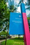 新加坡,新加坡- 2018年2月01日:海滩的方向的情报标志在环球影业新加坡的是a 图库摄影