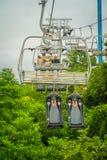 新加坡,新加坡- 2018年1月30日:空的新加坡圣淘沙缆车室外看法和地平线Luge,新加坡 免版税图库摄影