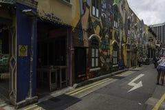 新加坡,新加坡- 2018年3月11日:街道在赴麦加朝圣过的伊斯兰教徒车道,新加坡的街道画艺术 库存图片