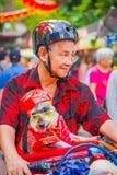 新加坡,新加坡- 2018年2月01日:骑他的有一条美丽的狗的未认出的人自行车在篮子里面在 免版税库存图片