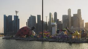新加坡,新加坡- 2018年3月15日:ART-ZOO可膨胀的公园2018年,小游艇船坞海湾新加坡 免版税图库摄影