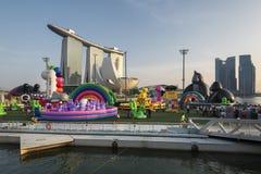新加坡,新加坡- 2018年3月15日:ART-ZOO可膨胀的公园2018年,小游艇船坞海湾新加坡 库存照片