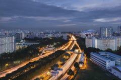 新加坡,新加坡- 2017年12月3日:Kallang -巴耶利巴高速公路和新加坡国民体育场 库存图片