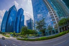 新加坡,新加坡- 1月30 2018年:公开住宅公寓大厦区和街市地平线在 库存照片