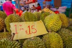 新加坡,新加坡- 1月30 2018年:关闭留连果果子著名热带水果在有它的亚洲国家 库存照片