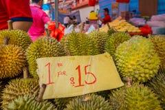 新加坡,新加坡- 1月30 2018年:关闭留连果果子著名热带水果在有它的亚洲国家 免版税图库摄影