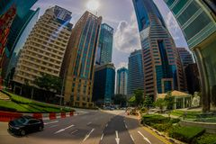 新加坡,新加坡- 1月30 2018年:居民住房复杂和街市地平线室外看法在Kallang 库存图片