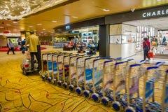 新加坡,新加坡- 1月30 2018年:carring许多行李推车,那的Unidentifiedman被设置为了顾客 库存图片