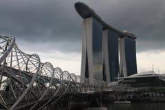 新加坡,螺旋桥梁 库存图片