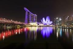 新加坡, 2017年12月9日:新的小游艇船坞海湾在新加坡铺沙手段 免版税库存照片