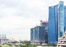 新加坡, 1月2016 14日:小游艇船坞海湾财政区风景  库存图片