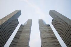 新加坡, 2015年10月13日:Suntec市政厅b四个塔  免版税库存照片