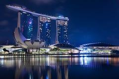 新加坡, 1月2017 10日-小游艇船坞海湾的风景铺沙h 图库摄影