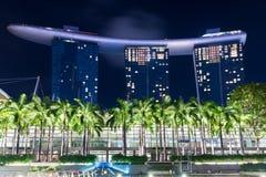 新加坡, 1月2017 10日-小游艇船坞海湾的风景铺沙h 免版税库存图片