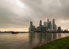 新加坡, CBD 3月2008年,新加坡河在新加坡, 3月200 免版税库存照片