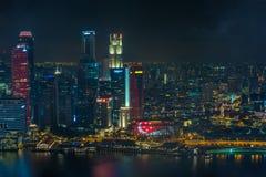 新加坡50年国庆节彩排小游艇船坞海湾光展示 库存图片