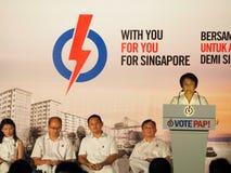 新加坡2015大选集会- Low Yen陵市长 免版税库存图片
