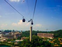 新加坡2017年9月12日,新加坡缆车向圣淘沙 免版税库存照片