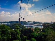 新加坡2017年9月12日,新加坡缆车向圣淘沙 免版税图库摄影