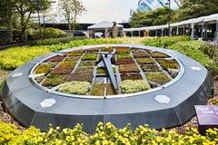 新加坡-2019年3月19日:一个运转的时钟由花床做成在滨海湾公园 库存照片