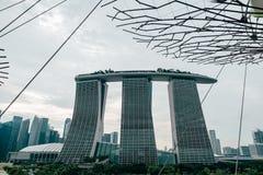 新加坡- 2016年1月19日:与现代城市大厦的都市场面 免版税库存图片